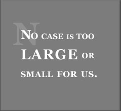 No case is too large or small for us